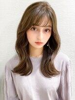 前髪/ラベンダーカラー/イメチェン/くびれミディ/くすみカラー