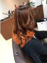 ブラウン×オレンジ裾カラー