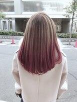 ブリーチなし♪プラチナピンク☆柔らかなグラデーションカラー