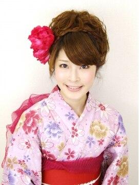 浴衣に似合う髪型アレンジ  あみこみカールアップ Ky-05