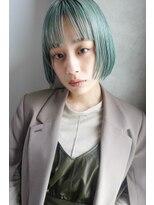 エンクス(enx)ぱっつんボブ ×ミントグリーンカラー