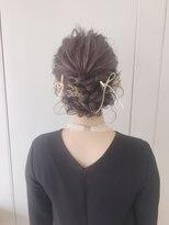 ピエドプールポッシュ(PiED DE POULE POCHE)* arrange hair * × flower + ribbon
