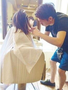 アイル ヘアー(Aile Hair)の写真/【マンツーマンの優しいおもてなし】仕上げまで1人のstylistが担当!なりたいスタイルを一緒に叶えます♪