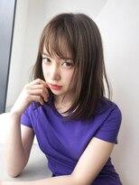 アルバム シンジュク(ALBUM SHINJUKU)内巻きストレートミディアム_ネイビーカラーフレンチボブ_75607