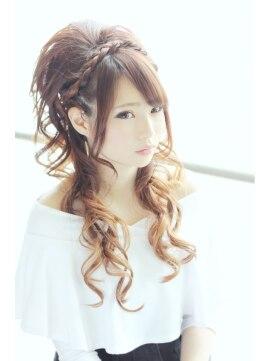 三つ編みハーフアップヘアアレンジ トゥーヘアカゴシマ two hair kagoshima☆大人可愛い三つ編みハーフアップ☆