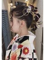 emue京都◇紐アレンジ編みこみ成人式ヘアセット アレンジ◇中島