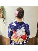サロンド クラフト(salon de craft)【浴衣】華やかな帯結びと編み込みシニヨンスタイル♪