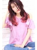 インナーカラーピンク×ウェットヘア×ゆるロング