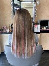 美容室ダン(Dan)可愛い華やかなピンク色エクステのロングヘア☆