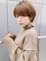 前髪ありショートボブ【毛先パーマ /黒髪/ことりベージュ】