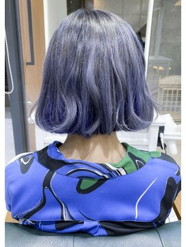 デイズ(days)ネイビーカラーアッシュ3Dカラー☆ブリーチWカラーモード