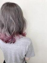 ◎グラデーション×裾カラーピンク 外ハネボブ
