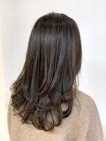 モテ髪ふんわりレイヤー 毛先ワンカール 暗髪 艶髪