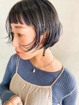 テトヘアー(teto hair)ショートバング・切りっぱなしボブ・ミニボブ ・ネイビーブルー