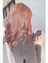 イルミナカラーコーラル×韓国風巻き髪