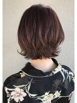 ヘアースペース ブイ(hair space V)外ハネウルフボブとチェリーピンクカラー