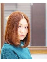 美容室 ドリームスタイル顔を包むワンカール×オレンジベージュカラー