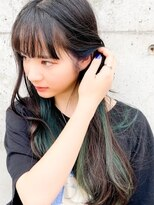 インナーカラーブラック×グリーン◎ブラントロング