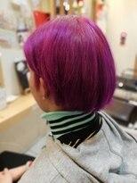 ハデ髪色、紫カラー、