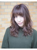 ノエル ヘアー アトリエ(Noele hair atelier)《Noele》ピンクパープル×目の上シースルーバング