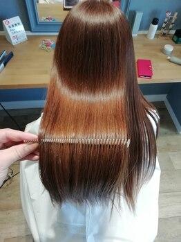 サロン ライム(SALON LIME)の写真/ホホバ油・ヒマシ油・シアバター等配合の高濃度オイルクリームの矯正剤で保湿力◎艶髪ストレートに♪