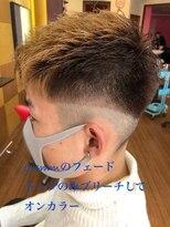 ブリーチ フェード 短髪 刈り上げ メンズ
