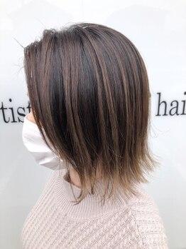 アッシュ アーティスティック スタジオ オブ ヘア(Ash artistic studio of hair)の写真/白髪染めとは思えない【質感/色もち/ツヤ感UP】白髪を活かすハイライトも◎気になり出したらA.s.hへ