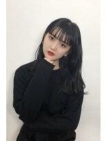 韓国風シースルーバング_くすみカラーラベージュオリーブカラー