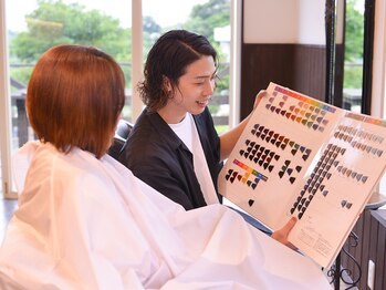 ロッソ 逗子銀座店(ROSSO Zushi-Ginza)の写真/お肌の弱い方でも安心◎『ゼロテク』を導入!カラーに不安のある方はご相談下さい♪