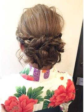 結婚式 和装 髪型 セットサロン エース Set salon Ace卒業式・袴☆ルーズな編み込みアップ
