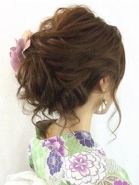 浴衣 髪型(ミディアムセミロング) ゆるふわアップ