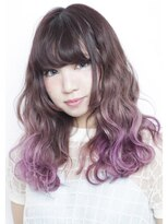 シェリー(sherry)パープルグラデーションカラー☆ロングウエーブ☆紫カラー