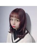 リビングユー(Livingu you)★ラベンダーチェリーカラー&オン眉シースルーパッツン!