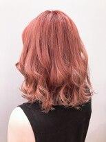 クリアーオブヘアー 一社店(clear OF HAIR)ミディアムボブ×サーモンピンク