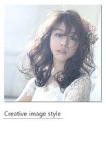 【Creative image styel】花飾りが似合う細かめウェーブカール