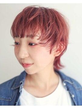 ニコヘアー(niko hair)くすみピンクマッシュウルフ