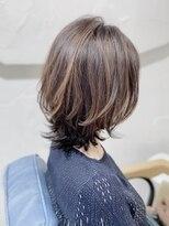 20代30代40代50代白髪染め×ハイライト+ツヤ髪のCカーブカット☆