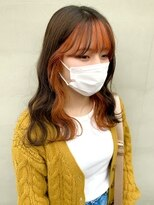 ヘアー アイス ルーチェ(HAIR ICI LUCE)インナーカラー オレンジカラー 前髪インナー 担当城倉