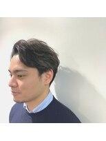 パール(PEAR+L)男のハイライトカラー×スリークショート×かき上げヘア