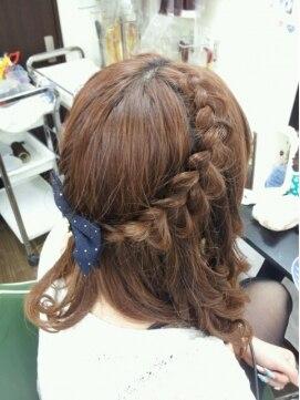ヘアセットアップス(UP's)◆可愛いっ♪『両サイドゆるふわ編み込み+コテ巻き下ろし~*』♪