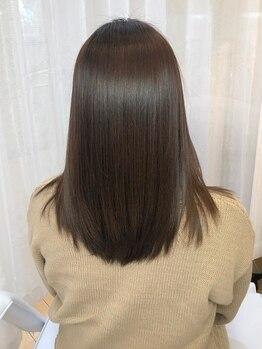 美容室 カカオ(Cacao)の写真/美ストレートに思わず目が奪われる♪髪の毛には優しく且つクセは伸ばす!触れたくなるうる艶☆美髪をご提供!