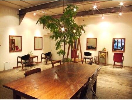 エーテンプラスアルファ(A10+α)の雰囲気(木目調の店内と、緑で癒されて。まるでアトリエのような空間です)