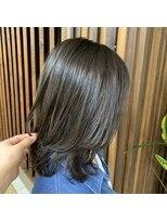 重めミディアム毛先Cカールボブ/ツヤ髪黒髪ナチュラルストレート