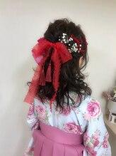 ヘアーセットサロン ピンキー(Hairset Salon Pinky)Pinky☆リボン アレンジ ハ-フアップ