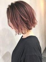 アルバム シブヤ(ALBUM SHIBUYA)ピンクアッシュグラデーション_スリークボブ厚めバング_ba220582