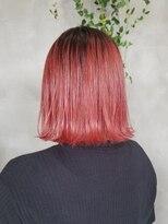 テトヘアー(teto hair)韓国ヘア グラデーション レッド 赤 切りっぱなしボブ