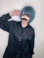 ビーヘアサロン(Beee hair salon)歌い手の松下さん!オーシャンブルーの前下がりボブ☆渡部雅己