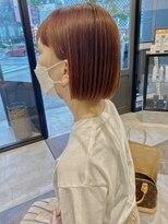 ヘアーアイスカルテット(HAIR ICI QUARTET)rena◯ミニボブ 縮毛矯正 オレンジカラー