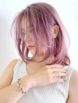 アルバム シンジュク(ALBUM SHINJUKU)ピンクアッシュミディ_オリーブカラーハイライトカラー_ba307392