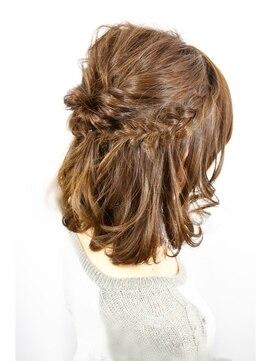 結婚式髪型 ミディアムハーフアップ アレンジ×ハーフアップ